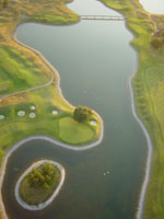 View of a golf course from a balloon