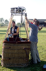 Preparing the basket for flight
